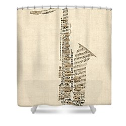 Saxophone Old Sheet Music Shower Curtain