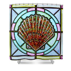 Shower Curtain featuring the painting Scallop Shell 1 by Jim Harris