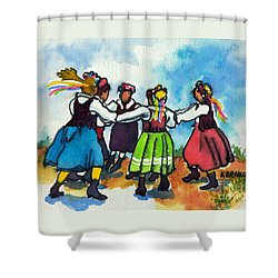 Scandinavian Dancers Shower Curtain by Kathy Braud