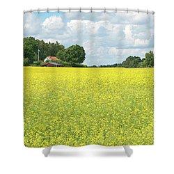 Scandinavian Summer Landscape With Yellow Meadow Shower Curtain