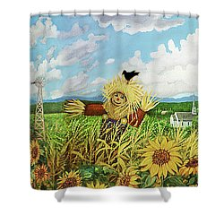 Scare Crow And Silo Farm Shower Curtain by Bonnie Siracusa