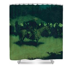 Scare In A Pack Train Shower Curtain by Frederic Remington