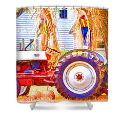 Scarecrow And Pumpkins Shower Curtain by Lanjee Chee