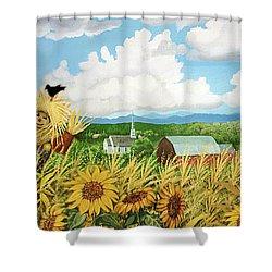 Scarecrow Farm Shower Curtain by Bonnie Siracusa