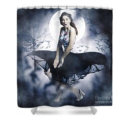 Shower Curtain featuring the photograph Scared Young Woman In Eerie Halloween Forest  by Jorgo Photography - Wall Art Gallery