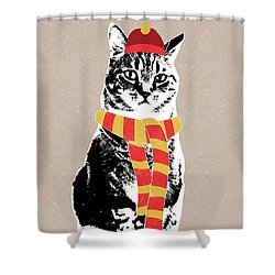 Scarf Weather Cat- Art By Linda Woods Shower Curtain
