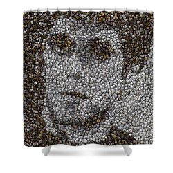 Shower Curtain featuring the mixed media Scarface Coins Mosaic by Paul Van Scott