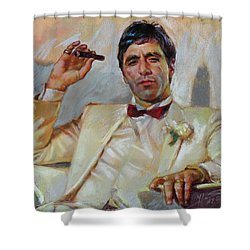 Scarface Shower Curtain by Ylli Haruni