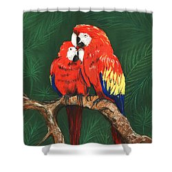 Shower Curtain featuring the painting Scarlet Macaws by Anastasiya Malakhova