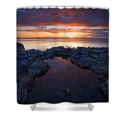 Scarlet Pools Shower Curtain by Mike  Dawson
