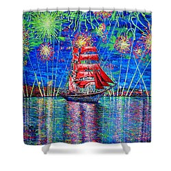 Scarlet Sail Shower Curtain by Viktor Lazarev