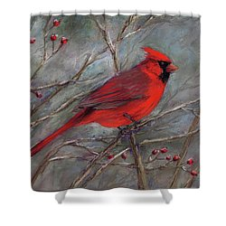 Scarlet Sentinel Shower Curtain by Vikki Bouffard