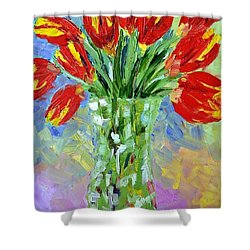 Scarlet Tulips Shower Curtain