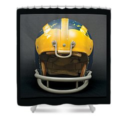 Shower Curtain featuring the photograph Scarred 1970s Wolverine Helmet by Michigan Helmet