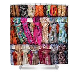 Scarves In Mykonos Shower Curtain by John Hoey