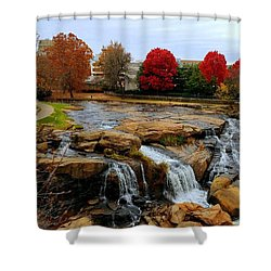 Scene From The Falls Park Bridge In Greenville, Sc Shower Curtain