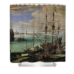 Scene Of A Sea Port Shower Curtain by Paul Bril