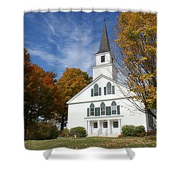 Scenic Church In Autumn Shower Curtain by Lois Lepisto