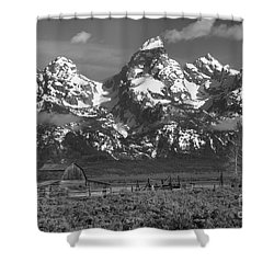 Scenic Mormon Homestead Black And White Shower Curtain by Adam Jewell