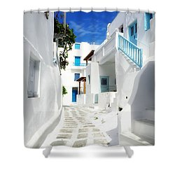 Scenic Mykonos Shower Curtain by HD Connelly