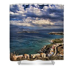 Scenic View Of Eastern Crete Shower Curtain