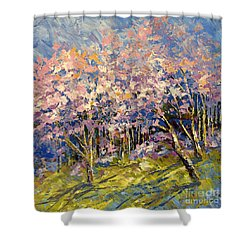 Shower Curtain featuring the painting Scented Blooms by Tatiana Iliina