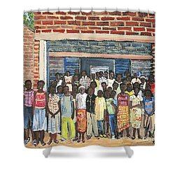 School Class Burkina Faso Series Shower Curtain by Reb Frost