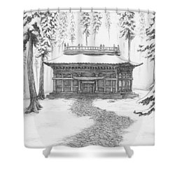 School In The Snow Shower Curtain