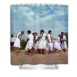 School Trip To Beach II Shower Curtain by Rafa Rivas