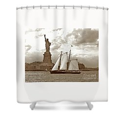 Schooner At Statue Of Liberty Twurl Shower Curtain by Tom Wurl