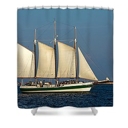 Schooner By Fort Sumter Shower Curtain by Sally Weigand