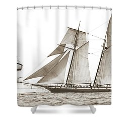 Schooner Lynx Full Sail Shower Curtain