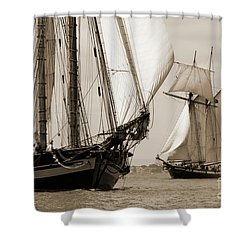 Schooner Pride Of Baltimore And Lynx Shower Curtain