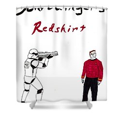 Schrodingers Redshirt Shower Curtain by David S Reynolds