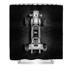 Shower Curtain featuring the photograph Schuco Matra Ford Top Bw by YoPedro