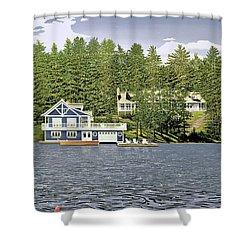 Shower Curtain featuring the painting Schultz Summer Home Muskoka by Kenneth M Kirsch