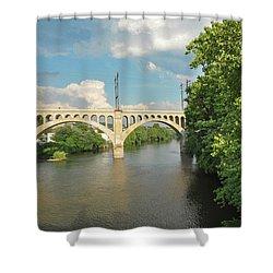 Schuylkill River At The Manayunk Bridge - Philadelphia Shower Curtain by Bill Cannon