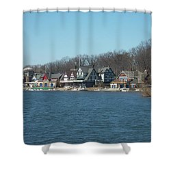 Shower Curtain featuring the photograph Schuylkill River - Boathouse Row In Philadelphia by Bill Cannon