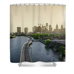 Shower Curtain featuring the photograph Schuylkill River Walk At Sunrise by Bill Cannon