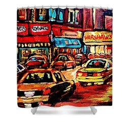 Schwartz's Deli At Night Shower Curtain by Carole Spandau