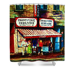 Schwartzs Famous Smoked Meat Shower Curtain by Carole Spandau
