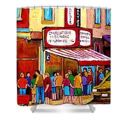 Schwartzs Hebrew Deli Montreal Streetscene Shower Curtain by Carole Spandau