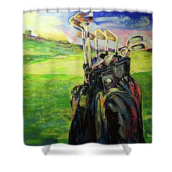 Schwarze Golftasche  Black Golf Bag Shower Curtain by Koro Arandia