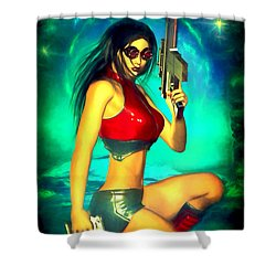 Sci-fi Brunette With Two Guns Shower Curtain