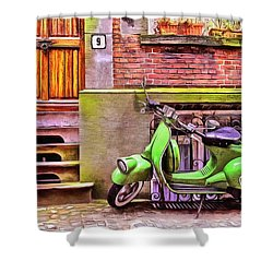 Shower Curtain featuring the painting Scooter Parking Only by Edward Fielding