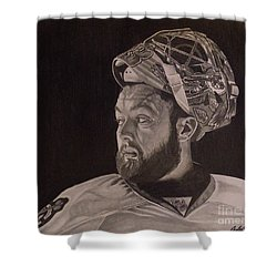 Shower Curtain featuring the drawing Scott Darling Portrait by Melissa Goodrich