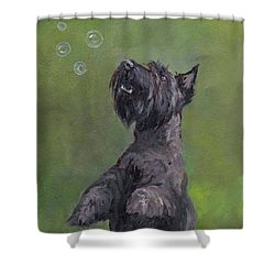 Scottie Likes Bubbles Shower Curtain