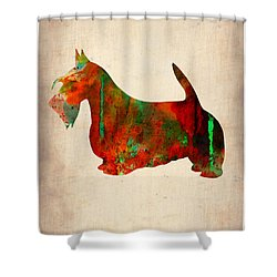 Scottish Terrier Watercolor 2 Shower Curtain by Naxart Studio