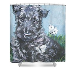 Scottish Terrier With Butterflies Shower Curtain by Lee Ann Shepard