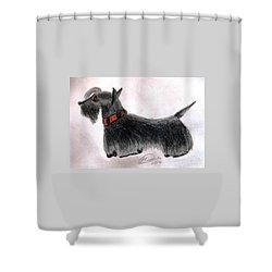 Scotty Elegance Shower Curtain by Angela Davies